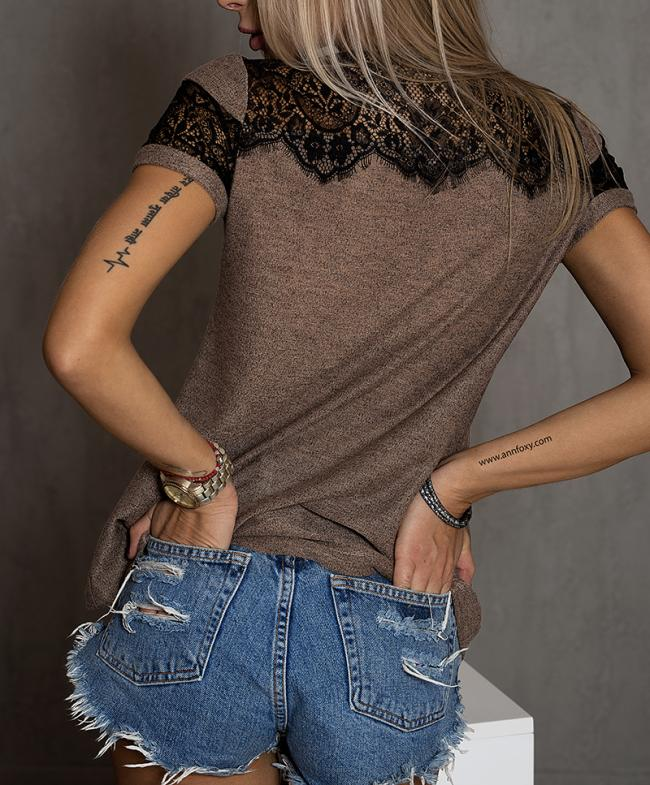 T-Shirt / Coffe color / French lace
