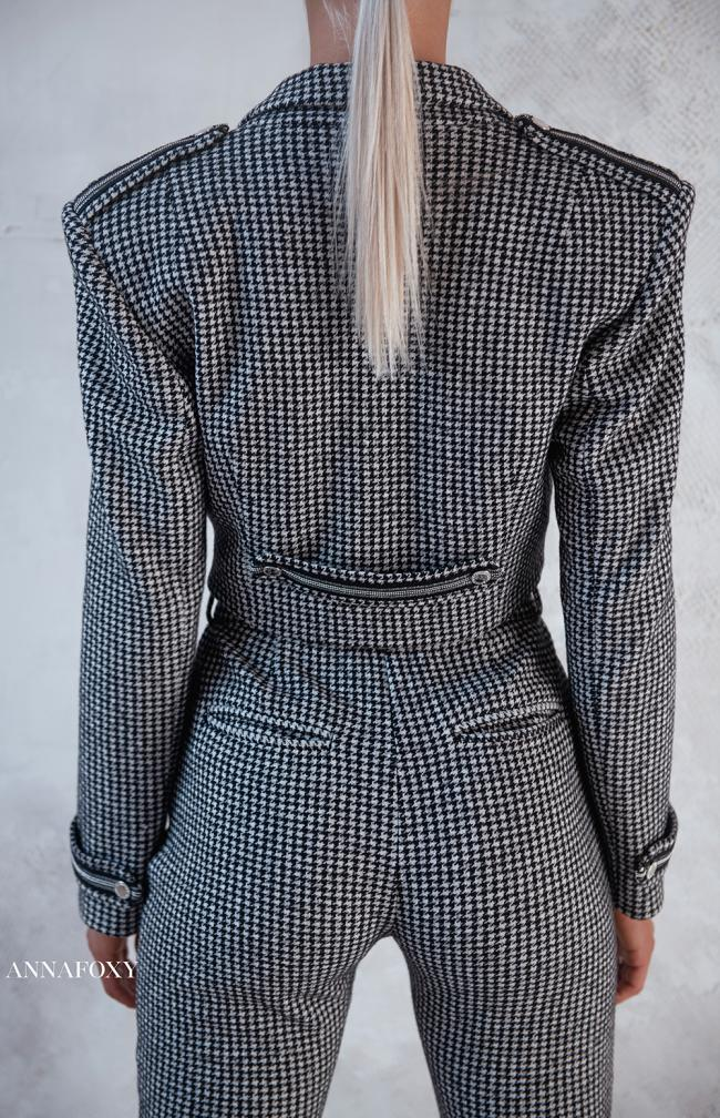 CROPPED HOUNDSTOOTH BLAZER